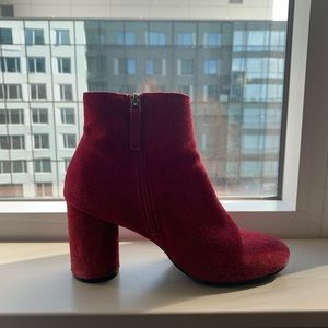 Urban Outfitters Red Suede Booties